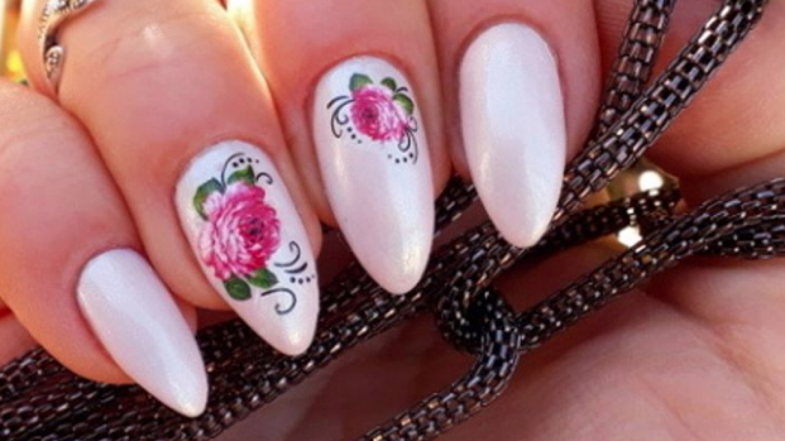 Beautiful white nails with pink roses