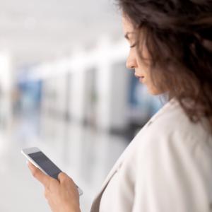 woman receiving a text