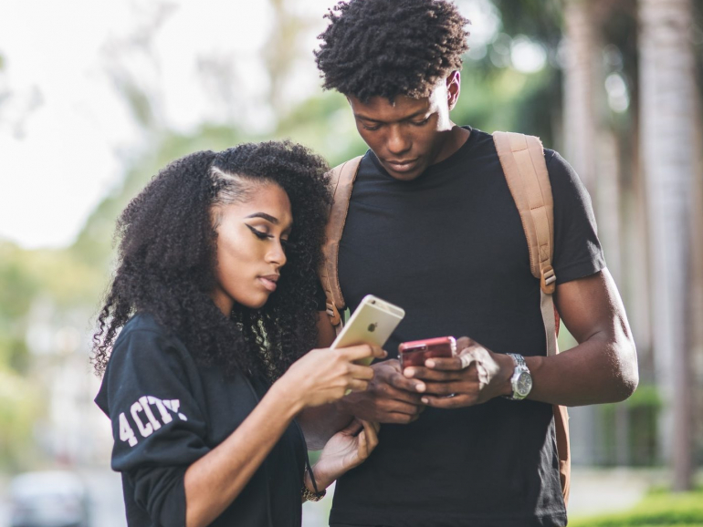 Couple exchanging numbers
